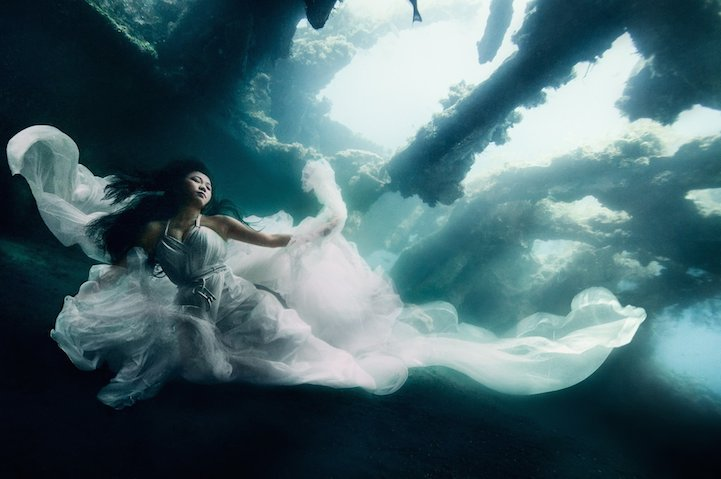 von wong retratos bajo el agua