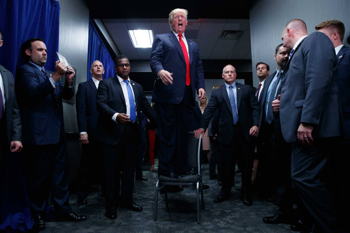 Republican presidential candidate Donald Trump speaks to an overflow crowd during a campaign rally, Tuesday, Sept. 6, 2016, in Greenville, N.C. (AP Photo/Evan Vucci)