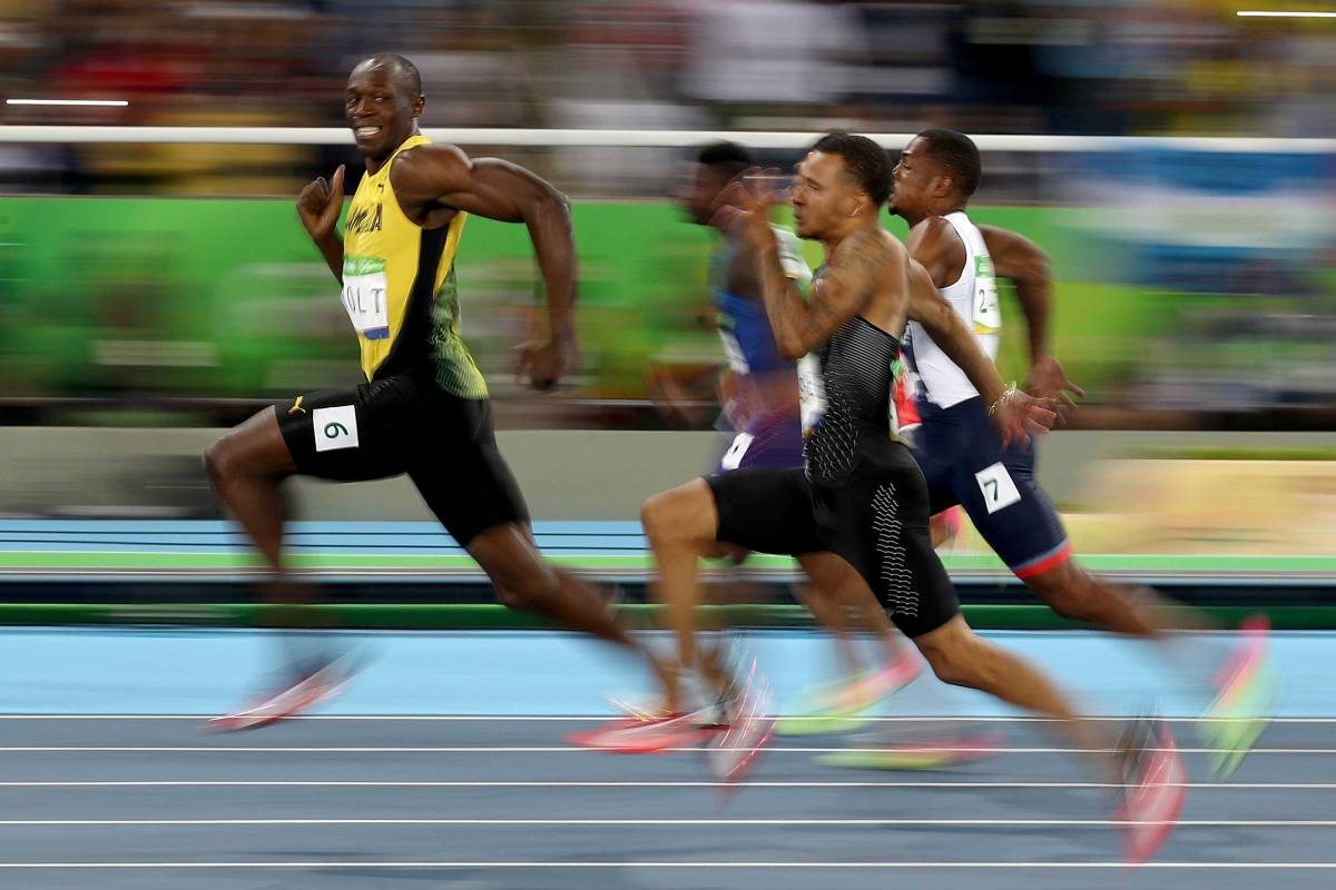RIO DE JANEIRO, BRAZIL - AUGUST 14: Usain Bolt of Jamaica competes in the Men's 100 meter semifinal on Day 9 of the Rio 2016 Olympic Games at the Olympic Stadium on August 14, 2016 in Rio de Janeiro, Brazil. (Photo by Cameron Spencer/Getty Images)