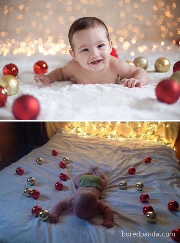 Fotos Profesionales De Navidad.Sesion De Fotos Navidena Con Bebes Realidad Vs Fotos