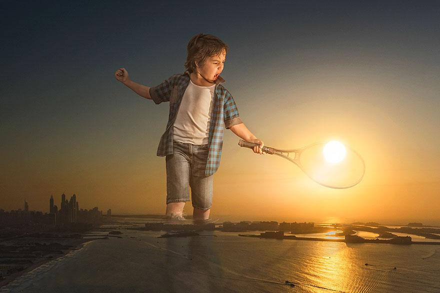 Fotos surrealistas con fotoshop. Jugando al tenis con el sol