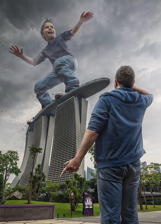 Fotos surrealistas con fotoshop. haciendo skate en rascacielos