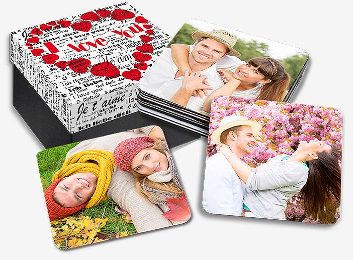 Imanes para la nevera con fotos de los novios. Regalo de boda original