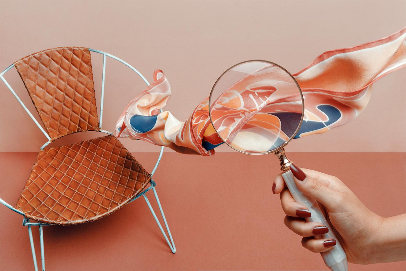 Campaña de Mikel Muruzábal sobre pañuelos de seda pintados a mano