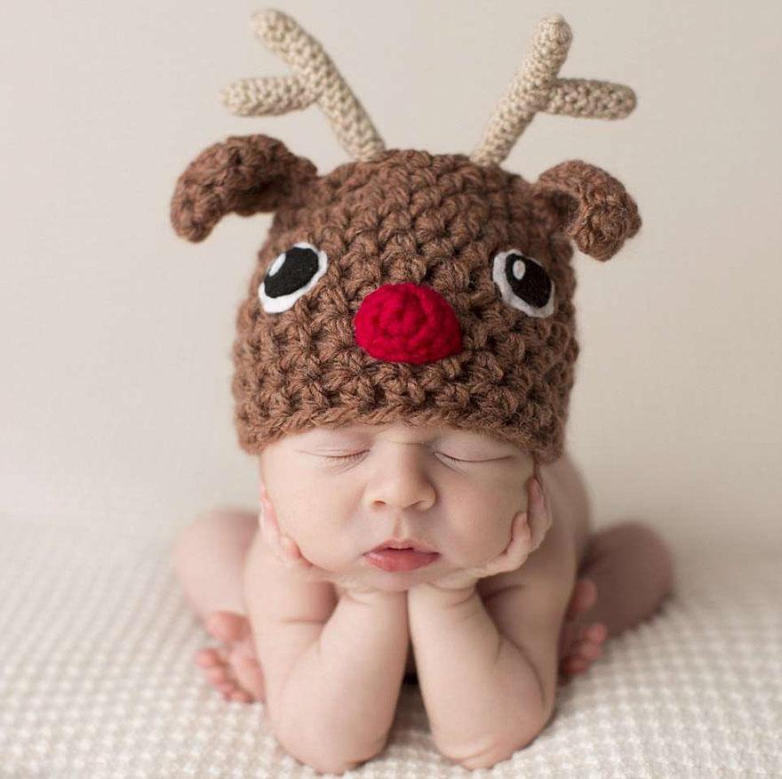 bebé reno sesión de fotos Navidad