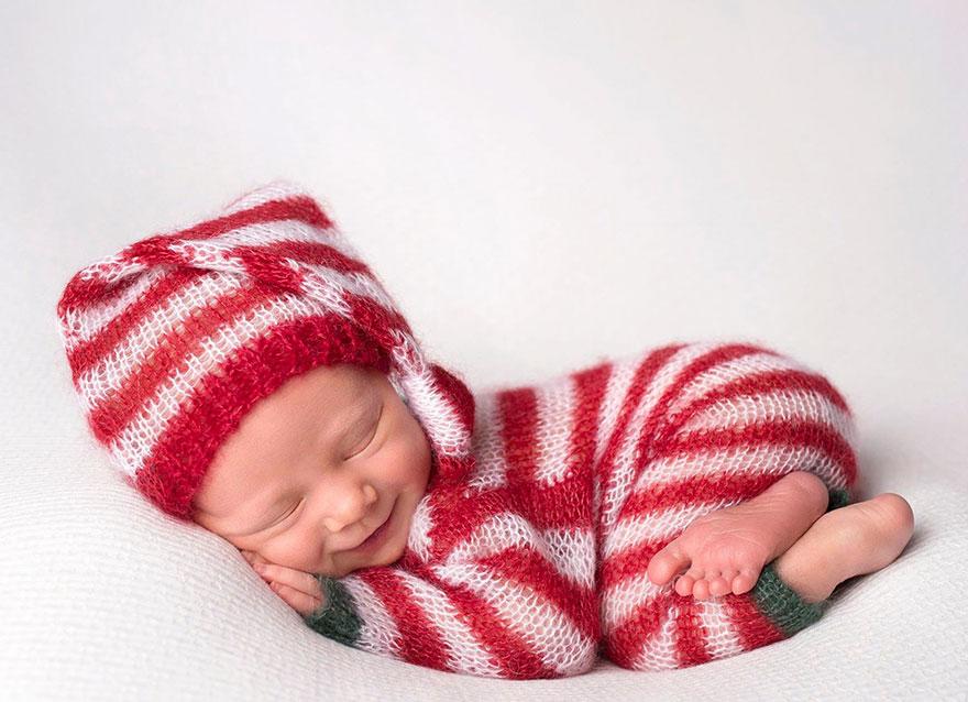 bebé duende sesión de fotos Navidad