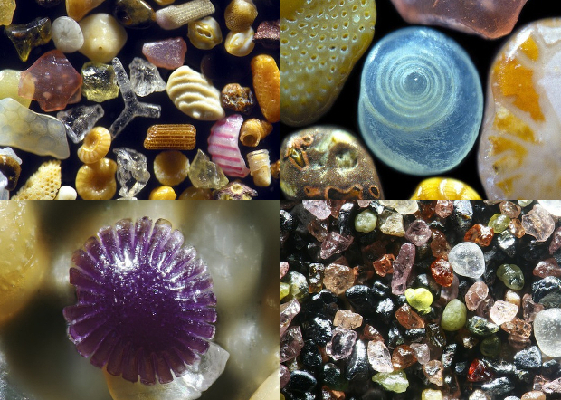 Fotos de la arena a nivel microscópico