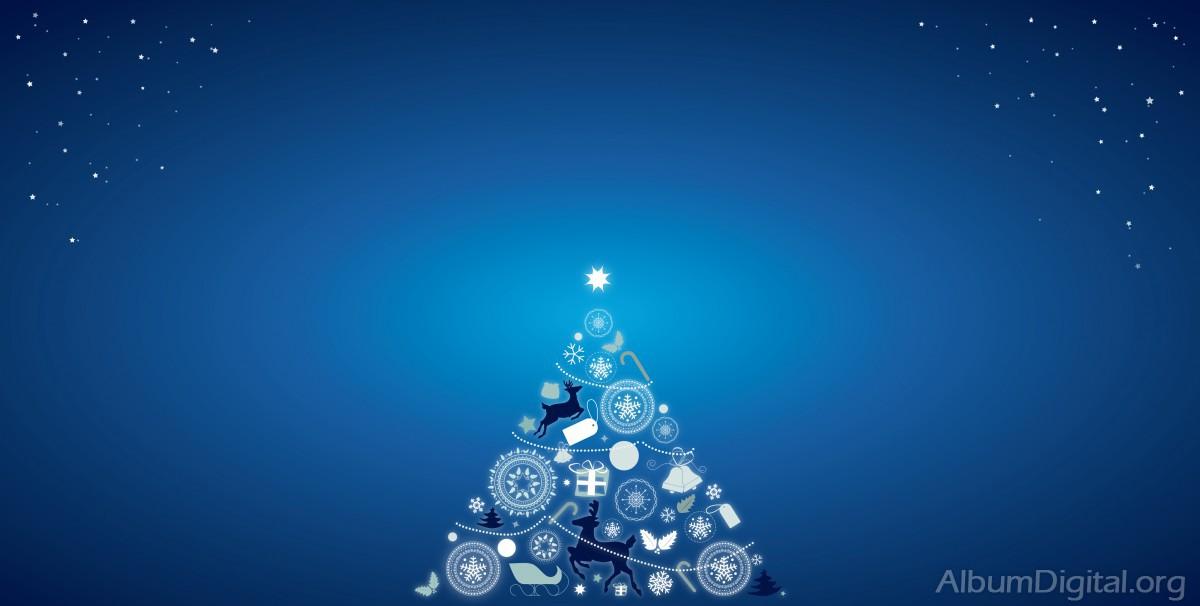 255358bf8f0c5 Fondo azul con árbol de Navidad. Formato Hofmann maxi