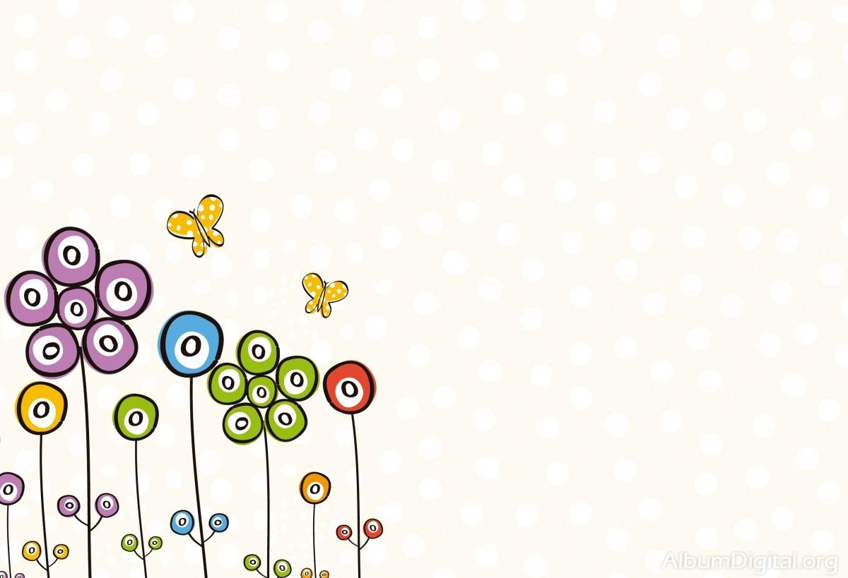 Fondo Comunión Para álbum Classic Flores Y Mariposas De Colores