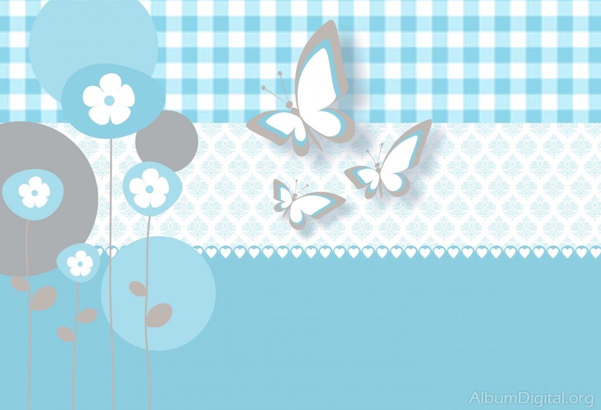Fondo Infantil álbum Classic Mariposas Y Flores Azul