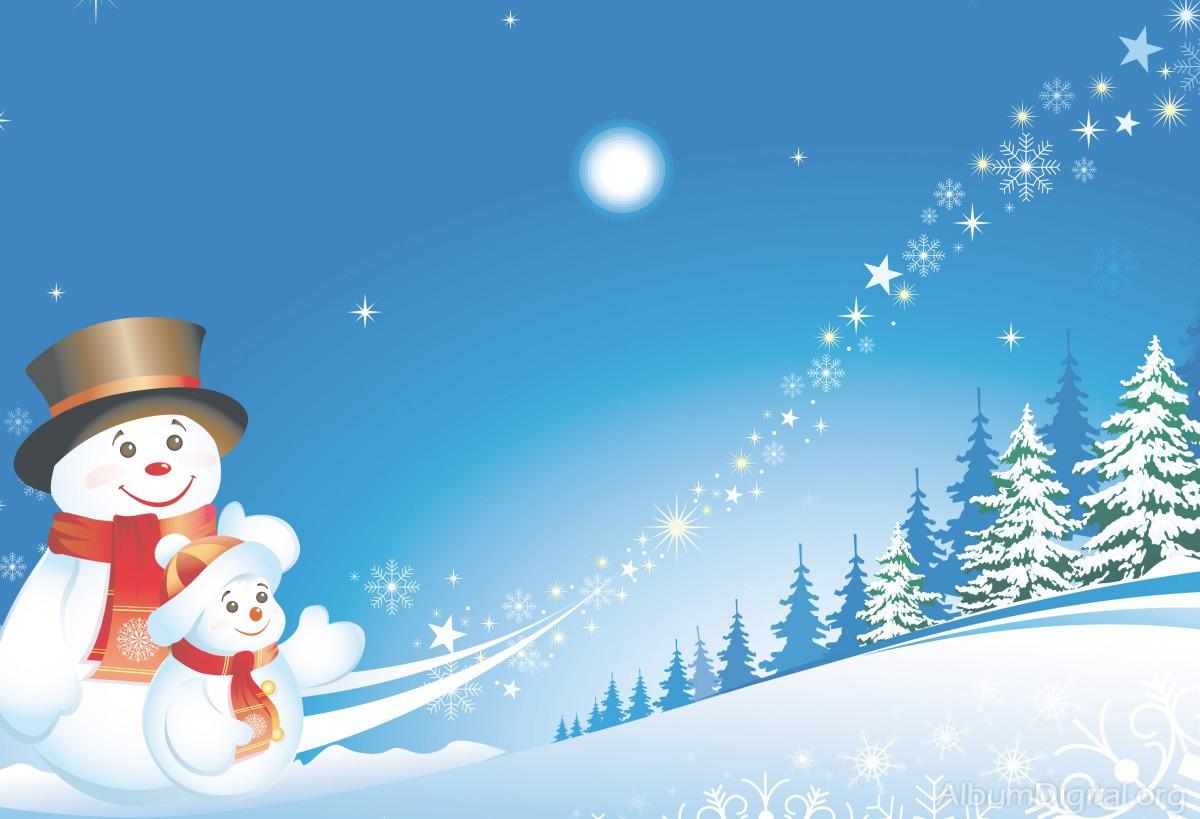 5d0ebe6e8ae9e Muñeco de nieve con su hijo. Fondo navideño classic