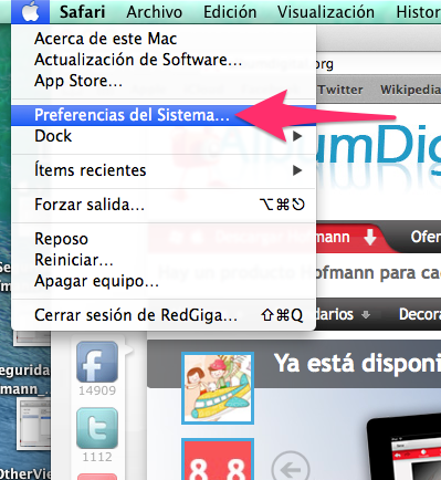 Menu de apple preferencias