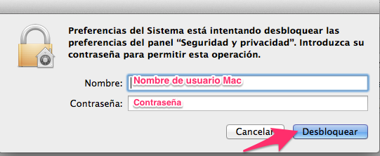 Contraseña en os x mavericks de apple
