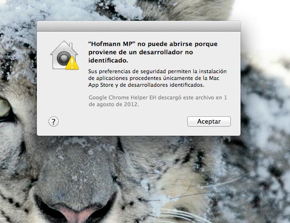 Mensaje error hofmann mac