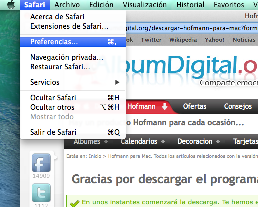 Preferencias en Safari